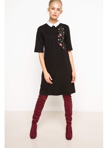 DeFacto Gömlek Yakalı Elbise Siyah